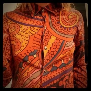 1990's Ellen Tracy psychedelic print silk blouse